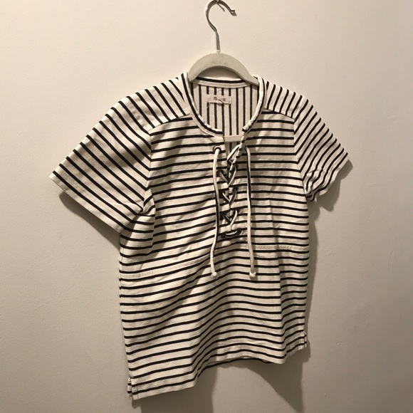 456765f7bec Madewell Tops - Madewell Striped Lace-Up Short Sleeve Top
